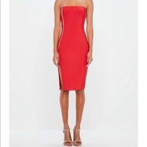 Red Bandeau Zip Detail Bodycon Midi Dress